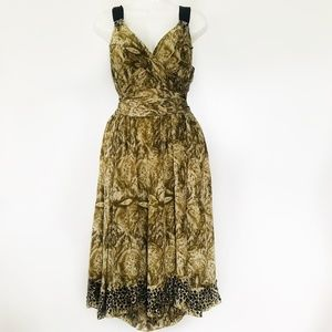 Anthropologie Rutzou Silk Snakeskin Print Dress 10